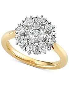 Diamond Floral Engagement Ring (1-1/3 ct. t.w.) in 18k Gold, Created for Macy's