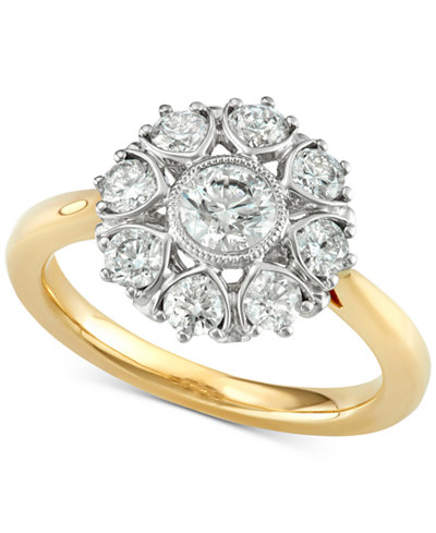 marchesa diamond floral engagement ring 1 13 ct tw in - Macys Wedding Rings