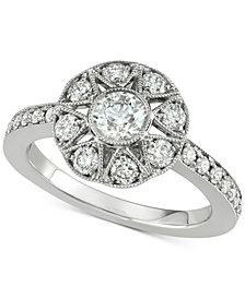 Marchesa Diamond Floral Engagement Ring (1 ct. t.w.) in 18k White Gold, Created for Macy's