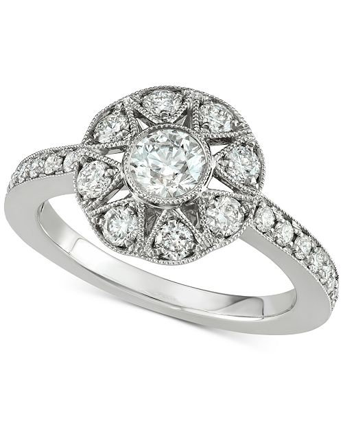 Marchesa Diamond Floral Engagement Ring 1 Ct Tw In 18k White