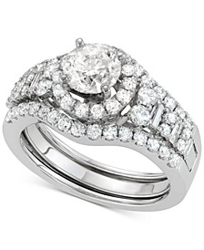 Diamond Halo Enhancer Bridal Set (2 ct. t.w.) in 14k White Gold