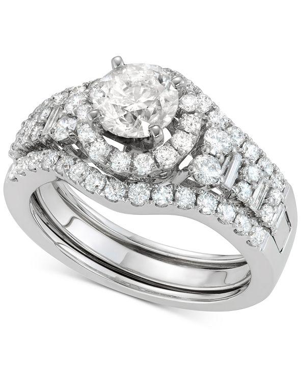 Macy's Diamond Halo Enhancer Bridal Set (2 ct. t.w.) in 14k White Gold