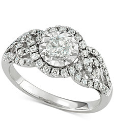 Diamond Weave-Style Engagement Ring (1-1/7 ct. t.w.) in 14k White Gold