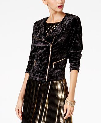 Thalia Sodi Crushed Velvet Moto Jacket, Created for Macy's