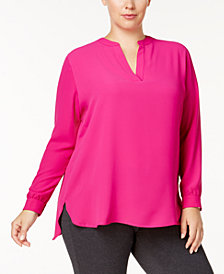 Anne Klein Plus Size Split-Neck High-Low Blouse