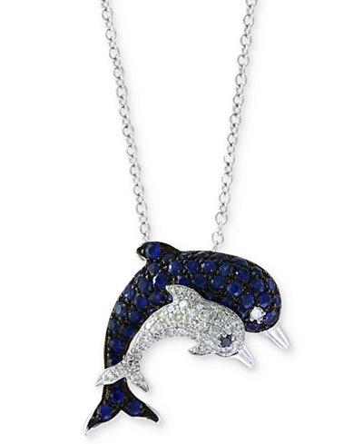 Seaside by EFFY® Sapphire (1/2 ct. t.w.) & Diamond (1/6 ct. t.w.) in 14k White Gold