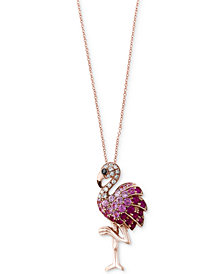 Safari by EFFY® Multi-Gemstone (5/8 ct. t.w.) & Diamond Accent Flamingo Pendant Necklace in 14k Rose Gold