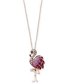 Safari by EFFY® Multi-Gemstone (5/8 ct. t.w.) & Diamond Accent Flamingo Pendant Necklace in 14k Rose Gold