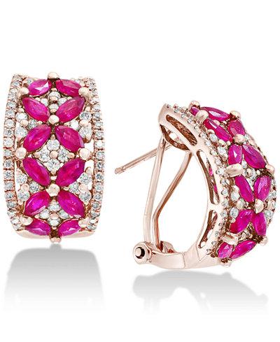 Amoré by EFFY®Certified Ruby (2-3/4 ct. t.w.) & Diamond (7/8 ct. t.w.) Curved Drop Earrings in 14k Rose Gold