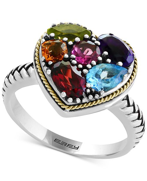 EFFY Collection Balissima by EFFY® Multi-Gemstone Two-Tone Heart Ring (2-1/6 ct. t.w.) in Sterling Silver & 18k Gold