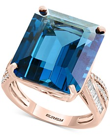 Ocean Bleu by EFFY® London Blue Topaz (14-9/10 ct. t.w.) & Diamond (1/4 ct. tw.) Ring in 14k Rose Gold