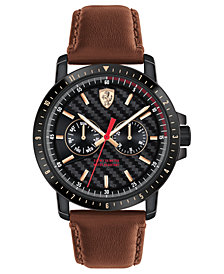 Ferrari Men's Turbo Brown Leather Strap Watch 42mm