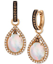 Chocolatier® Neopolitan Opal™ (2-3/8 ct. t.w.) and Diamond (5/8 ct. t.w.) Drop Earrings in 14K Rose Gold