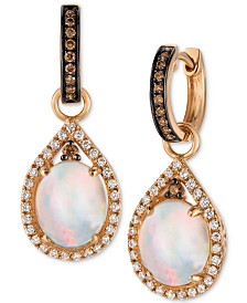 Le Vian Chocolatier® Neopolitan Opal™ (2-3/8 ct. t.w.) and Diamond (5/8 ct. t.w.) Drop Earrings in 14K Rose Gold