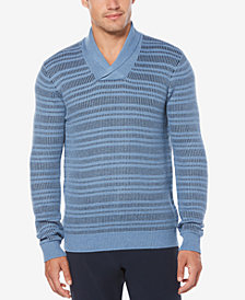Perry Ellis Men's Marled Shawl Striped Sweater
