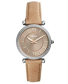 Women's Carlie Sand Leather Strap Watch 35mm