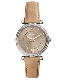 b74c2c671575 Fossil Women s Carlie Blush Leather Strap Watch 35mm   Reviews ...