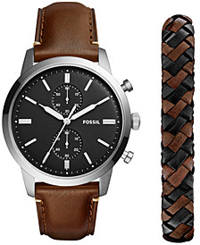 Fossil Men's Chronograph Townsman Dark Brown Leather Strap Watch 44mm Gift Set