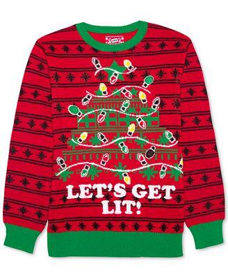 Hybrid Mens Lets Get Lit Holiday Sweater Sweaters Men Macys