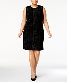Calvin Klein Plus Size Flocked Snake-Print Sheath Dress