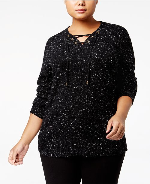 Calvin Klein Plus Size Lace-Up Tunic Sweater