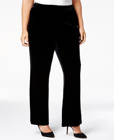 Calvin Klein Plus Size Tab-Front Velvet Pants