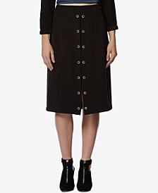 Avec Les Filles Front-Slit Grommet Skirt