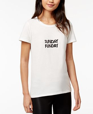 Bow & Drape Sunday Funday Sequined Graphic T-Shirt