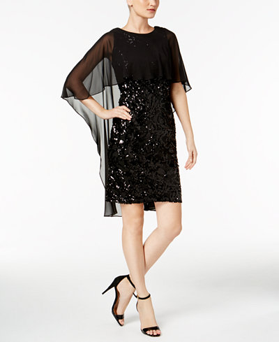 Calvin Klein High-Low Popover Sequined Dress