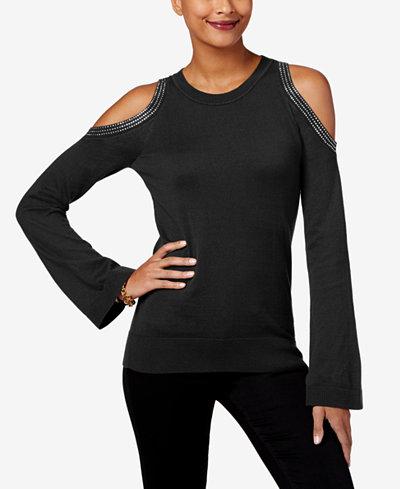 MICHAEL Michael Kors Petite Cotton Cold-Shoulder Sweater, Created ...