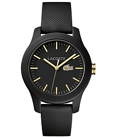 Lacoste Women's 12.12 Black Silicone Strap Watch 38mm