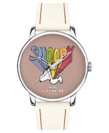 COACH Unisex Peanuts' Snoopy Grand Chalk Leather Strap Watch 40mm