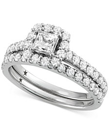 Macy's Star Signature Diamond™ Halo Bridal Set (1-1/2 ct. t.w.) in 14k White or Yellow Gold