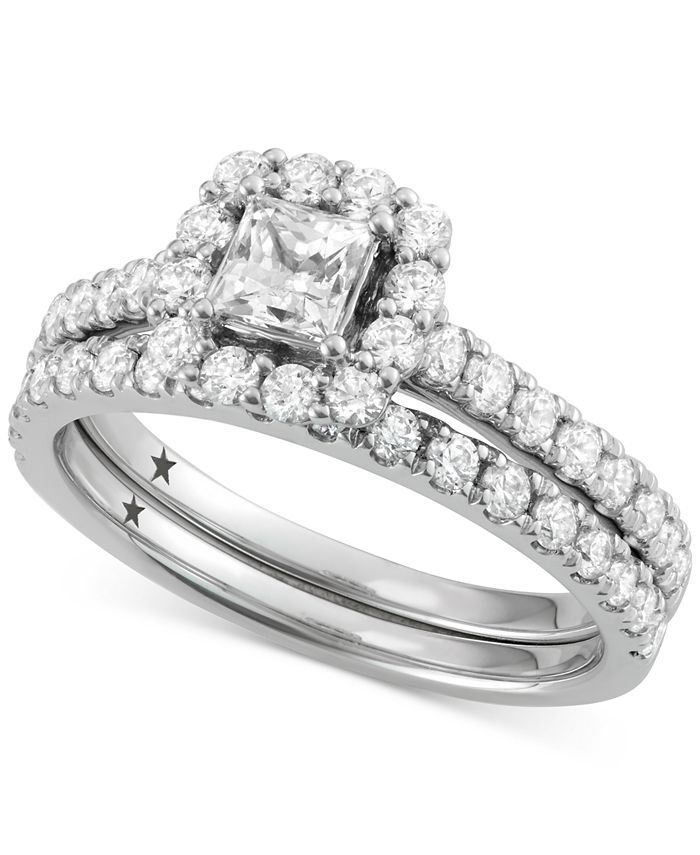 Macy's Star Signature Diamond - ™ Halo Bridal Set (1-1/2 ct. t.w.) in 14k White or Yellow Gold. Center Stone: 1/2 cttw. Side Stones: 1 cttw