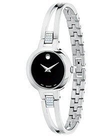 Swiss Amorosa Collection Diamond-Accent Stainless Steel Bangle Bracelet Watches