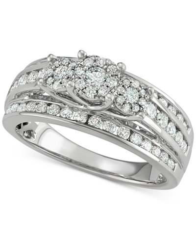 Diamond Multi-Row Cluster Engagement Ring (1 ct. t.w.) in 14k White Gold