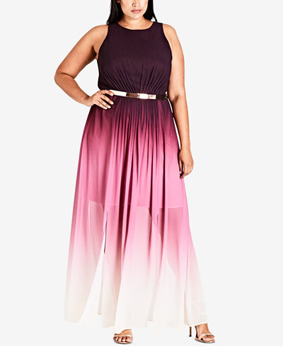 City Chic Trendy Plus Size Ombré Maxi Dress