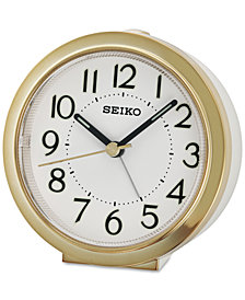 Seiko White & Gold-Tone Alarm Clock