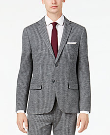 Bar III Men's Slim-Fit Gray Stripe Knit Suit Jacket, Created for Macy's