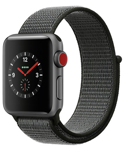Apple Watch Series 3 (GPS + Cellular), 38mm Space Gray Aluminum Case with Dark Olive Sport Loop