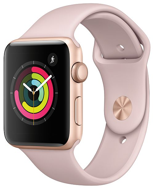 (GPS), 42mm Gold Aluminum Case with Pink Sand Sport Band