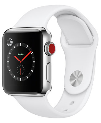 (Gps + Cellular),  38mm Stainless Steel Case With Soft White Sport Band by Apple Watch Series 3