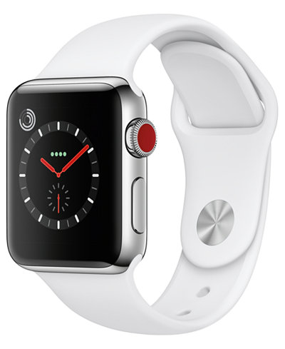 Apple Watch Series 3 (GPS + Cellular), 38mm Stainless Steel Case with Soft White Sport Band