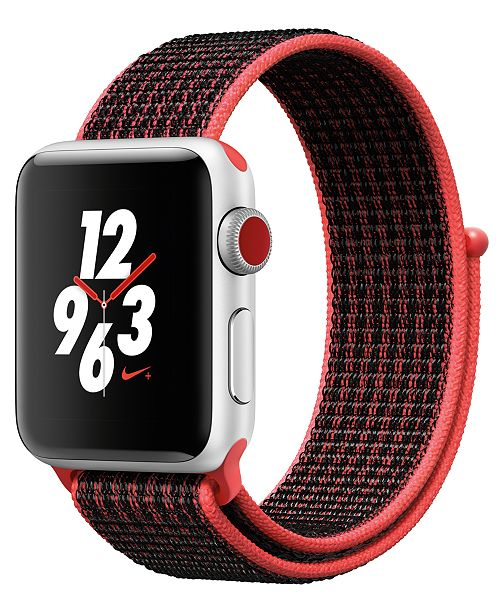Apple Watch Nike+ (GPS + Cellular),  38mm Silver Aluminum Case with Bright Crimson/Black Nike Sport Loop