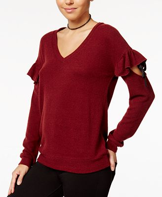 Almost Famous Juniors' Ruffled Cozy Sweater