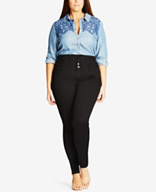 City Chic Trendy Plus Size Harley Corset Skinny Jeans