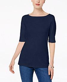 Karen Scott Petite Elbow-Sleeve Top, Created for Macy's