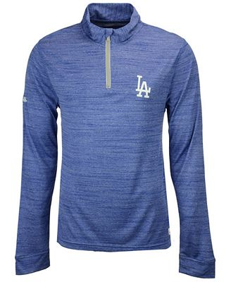 Dynasty Mens Los Angeles Dodgers Poly Twist Mock Quarter Zip