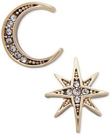 Gold-Tone Moon & Stars Mismatch Earrings