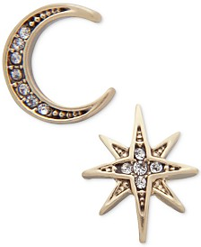 lonna & lilly Gold-Tone Moon & Stars Mismatch Earrings
